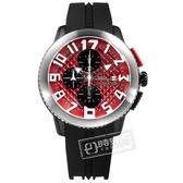 Tendence 天勢表 / TY016005 / 關鍵時刻 弧型礦石強化玻璃 三眼計時 日期 防水100米 矽膠手錶 紅x黑 47mm