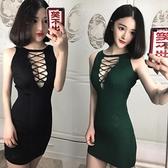 顯胸露背夜店緊身包臀短裙時尚夜場小姐工服超性感吊帶低胸連身裙