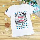 純棉 中大童 城市寫真星星美式短袖上衣 男童 寬鬆 舒適 棉質 短袖 上衣 T恤 白色