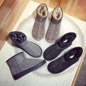 2019冬季新防滑雪地靴女低筒短筒靴平底加厚水鉆亮片保暖棉鞋學生  晴光小語
