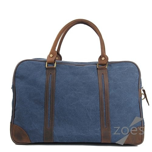 【Zoe s】蠟染帆布搭瘋馬皮大容量兩用防潑水旅行袋(深邃藍)