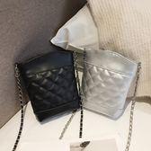 側背包 小包包女2019新款潮韓版菱格鏈條包單肩手機包