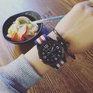 大錶盤 簡約 時尚 男錶 對錶 女錶 學生 情侶 手錶 尼龍 條紋 布帶 手表 [W120]