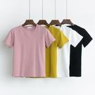 夏裝韓版基礎款純色圓領短袖T恤女寬鬆休閒半袖上衣體恤衫上衣潮 美芭