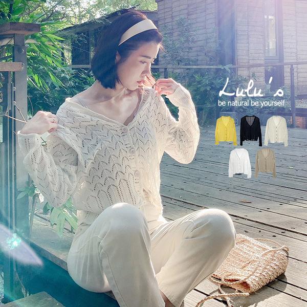 LULUS【A01200506】YV領簍空針織上衣5色