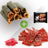 超人氣肉乾組合 海苔脆肉捲 / 大豬公 / 蜜汁肉乾 隨機贈送 火辣雞麵一包 組合商品首選~甜園
