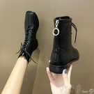 平底靴英倫風馬丁靴女春秋單靴新款平底方頭拉鏈短靴復古帥氣機車靴 盯目家