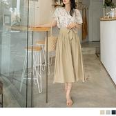 《CA2351》純色觸膚涼感腰鬆緊綁帶傘襬長裙 OrangeBear