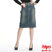 BOBSON女款刷色中長牛仔裙(D062-53)