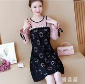 長袖洋裝 女裝胖mm新款秋季韓版蕾絲拼接寬鬆假兩件式連身裙 QG6364『優童屋』