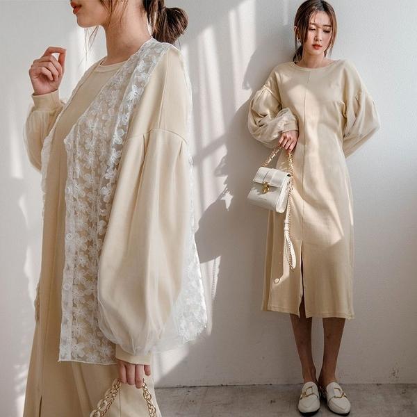 現貨-MIUSTAR 網紗澎袖前開衩綁帶棉質洋裝(共2色)【NJ0426】