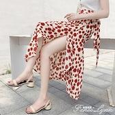裹裙夏女2021新款一片式沙灘碎花半身裙雪紡系帶下半身一塊布裙子 范思蓮恩