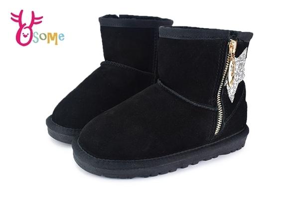 男女童冬季雪靴 刷毛 真皮 中童鞋 閃亮星星 暖冬韓流必備 M8080#黑 ◆OSOME奧森鞋業