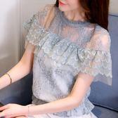 2018夏季新款短袖荷葉邊收腰短款鏤空鉤花蕾絲超仙洋氣上衣 DN11180【衣好月圓】
