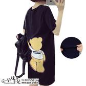 背面熊爪抓設計孕婦哺乳【橫拉式】長版上衣 兩色【CUH856108】孕味十足 孕婦裝