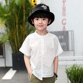 男童襯衫 男童襯衫短袖白色純棉夏裝新款韓版潮中大童兒童男孩童裝襯衣 伊羅鞋包