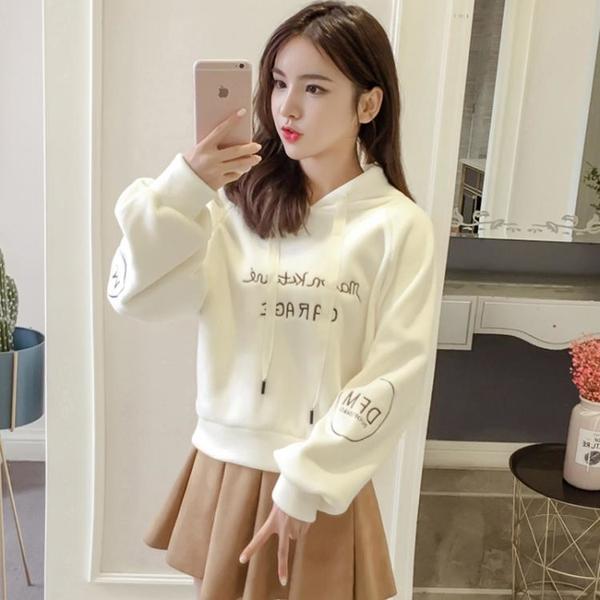 短款上衣 金絲絨連帽衛衣女加絨加厚秋冬新款韓版寬鬆學生刺繡短款套頭上衣 韓國時尚週