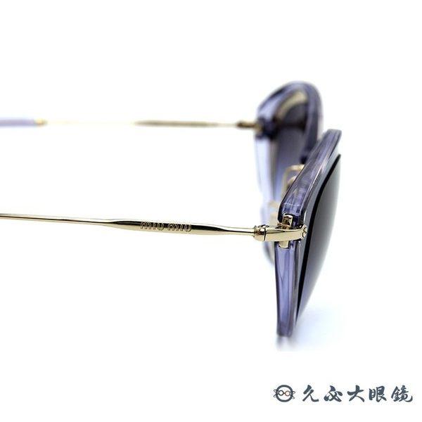 Miu Miu 太陽眼鏡 貓眼 復古墨鏡 SMU51R UFE-2F0 透藍-金 久必大眼鏡