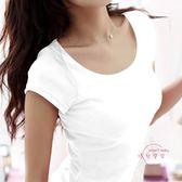 雙12購物節 素面短袖t恤女半袖新品夏天緊身打底衫修身圓領白色學生