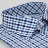 【金‧安德森】藍綠白格窄版短袖襯衫