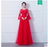 小鄧子敬酒服新娘2018春夏新款韓版長袖紅色顯瘦長款結婚回門服連衣裙女