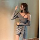 夜店女裝裙子女夏季夜店露肩一字肩洋裝收腰顯瘦綁帶氣質性感包臀裙短裙