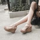厚底涼鞋 高跟坡跟涼鞋女夏季2021新款性感魚嘴學生百搭韓版厚底防水臺鬆糕