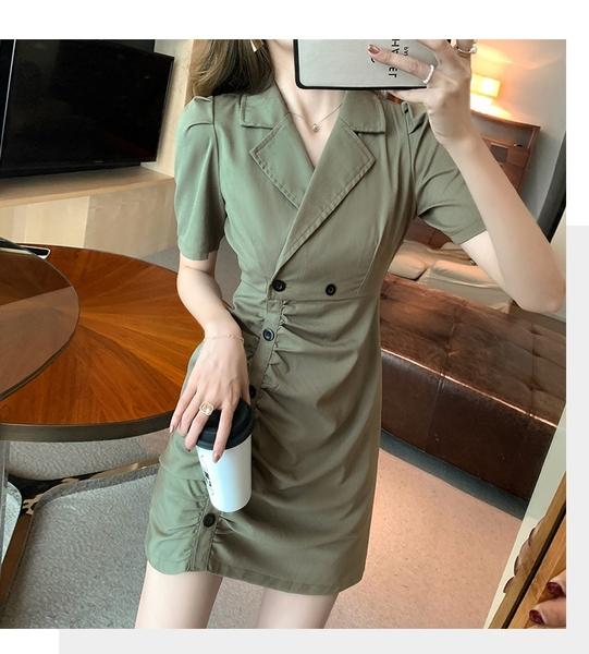 洋裝 西裝領排釦顯瘦連身裙-媚儷香檳-【D1600】