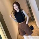 夏季赫本輕熟小個子氣質女神范時尚洋氣減齡工裝短褲鹽系兩件套裝 韓慕精品