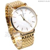 ROSEFIELD 歐風美學 時尚簡約 圓形 不鏽鋼 女錶 防水手錶 金色 UEWG-U21