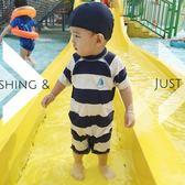 全館83折 韓國嬰幼兒童泳衣男寶泳褲條紋水手男童寶寶防曬連體防曬泳裝帶帽