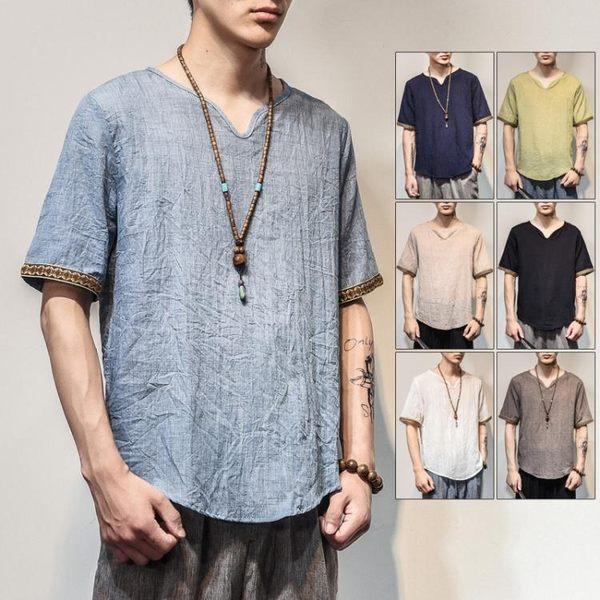 夏季男士薄款仿棉麻T恤中國風仿亞麻T恤夏裝清涼透氣中式上衣男裝 618好康又一發