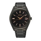 【台南 時代鐘錶 SEIKO】精工 SUR513P1 藍寶石鏡面 日期顯示 鋼錶帶女錶 6N42-00L0SD 黑/玫瑰金 36mm