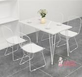 餐桌椅組 奶茶店咖啡廳桌椅組合網紅簡約大理石餐飲甜品店桌椅休閒餐廳桌椅T