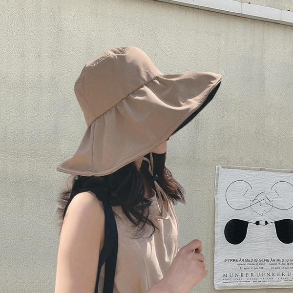黑膠防曬遮陽帽子女夏遮臉防紫外線太陽帽UV漁夫帽 西城故事