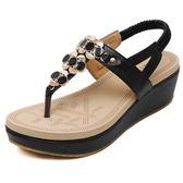 夏季韓版波西米亞羅馬涼鞋 鬆糕厚底夾腳鞋《小師妹》sm1969