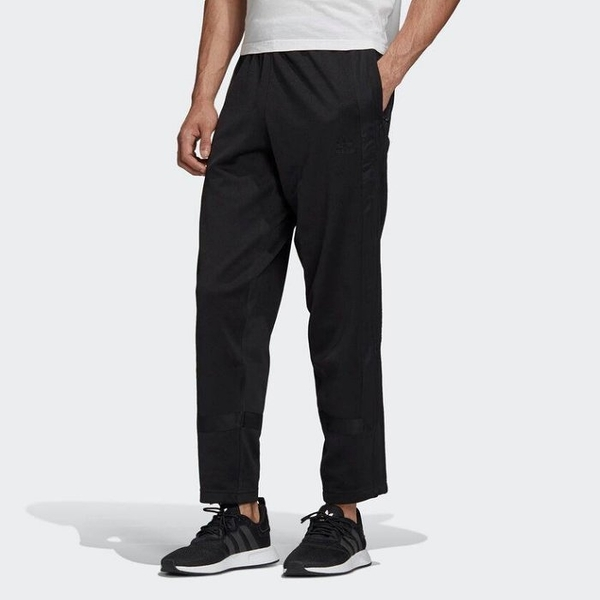 J- adidas Warm-Up Track Pants 男 休閒 長褲 全黑 三線 運動 拉鍊 GK0651