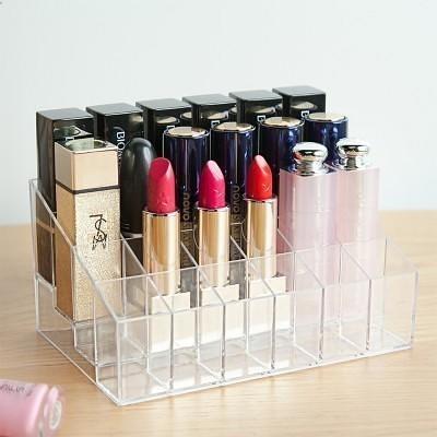 【24格化妝品口紅收納盒LA398】NO135韓式透明化妝品收納盒桌面整理盒化妝盒首飾【八八八】e網購