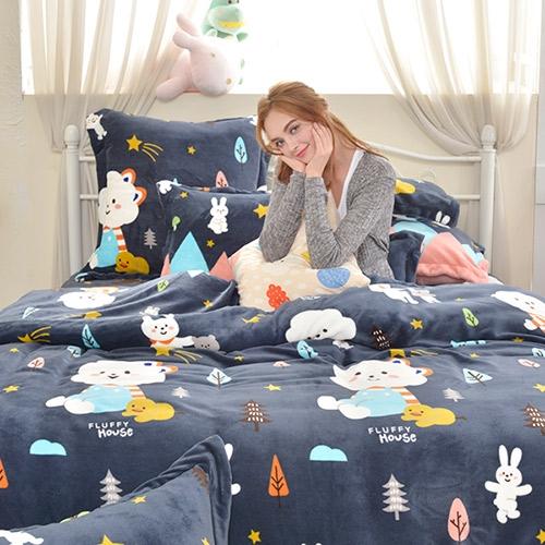 義大利Fancy Belle X FLUFFY HOUSE《白雲家族的山系旅行》雙人雪芙絨被套床包組
