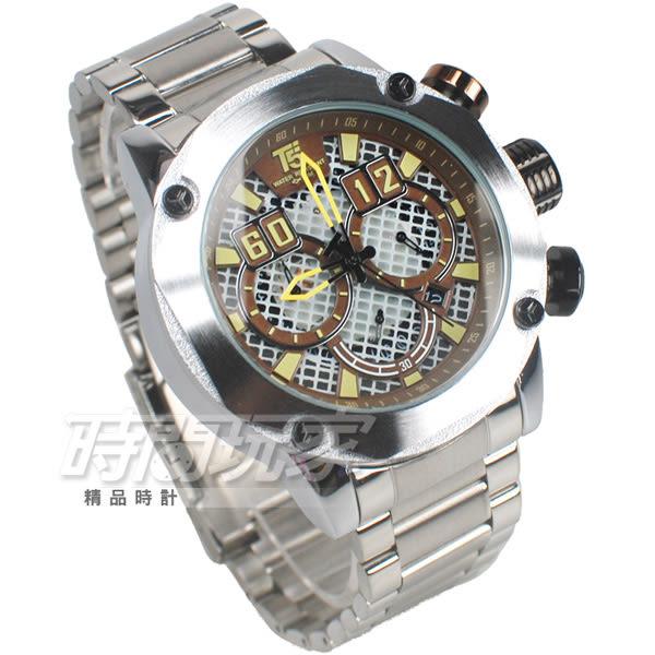 T5 sports time 粗曠 個性型男 三眼計時手錶 熟男Look 計時碼錶 防水 日期視窗 H3657咖