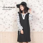 氣質洋裝--氣質優雅風圖紋點綴圓型V領荷葉綁帶長袖連身裙(黑XL-4L)-A294眼圈熊中大尺碼