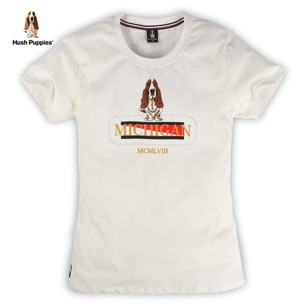 Hush Puppies T恤 女裝雙色植絨刺繡狗短袖T恤