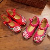 降價兩天 老北京兒童布鞋中國風女童繡花鞋民族風寶寶公主學生古裝表演出鞋