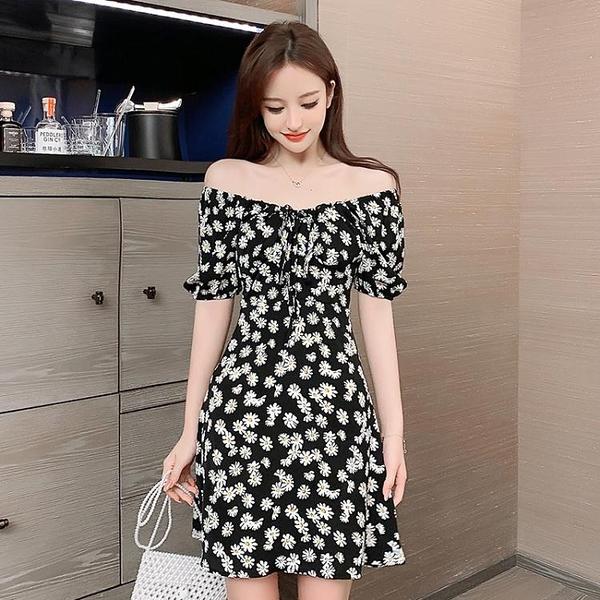 小雛菊洋裝女年夏季新款法式一字肩修身顯瘦包臀短裙碎花裙 快速出貨