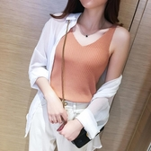 v領吊帶背心女夏季內搭冰絲針織黑白色小心機打底衫無袖上衣外穿 免運費
