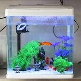 魚缸水族箱 生態創意魚缸時尚迷你玻璃桌面熱帶金魚缸帶蓋子  igo 全館免運