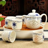 景德鎮青花瓷玲瓏茶具套裝陶瓷整套功夫茶具茶杯子茶壺紅茶茶具
