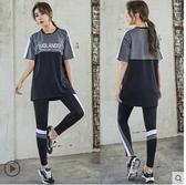 健身服 大碼健身上衣女罩衫胖mm中長款寬鬆運動速干衣跑步短袖T恤 瑜伽服 宜品