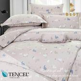 天絲床包兩用被四件式 雙人5x6.2尺 夢語(灰) 100%頂級天絲 萊賽爾 附正天絲吊牌 BEST寢飾