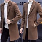 秋冬季風衣男中長款韓版帥氣毛呢大衣男士呢子外套2018新款男裝潮